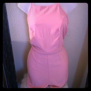 Pink Rayon Romper With Cinch Waist  Key Hole Back